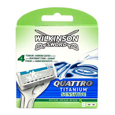 Wilkinson Quattro Titanium Sensitive Razor Blades, pack of 8