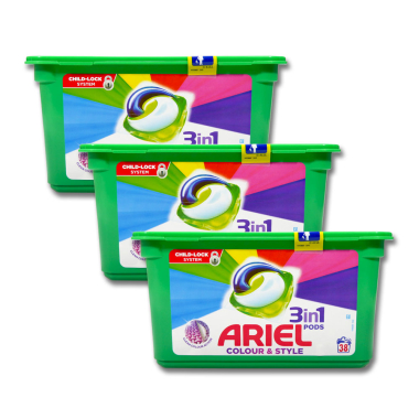 Ariel 3in1 Pods Colour & Style, 38WL x 3