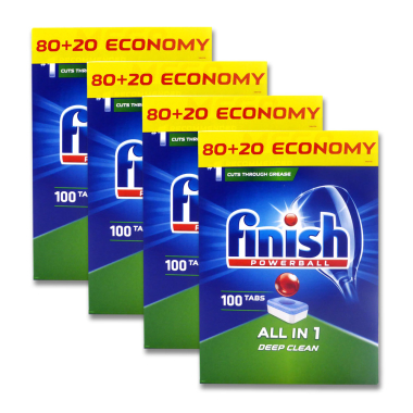 Finish Powerball All-in-1 dishwasher tabs, pack of 100 x 4