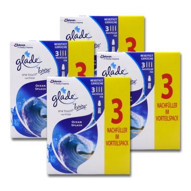 Glade by brise One Touch Refill Ocean Splash, 3 x 10 ml x 4
