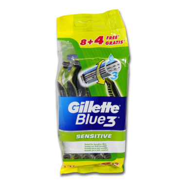 Gillette Blue3 Sensitive disposable razor, pack of 12