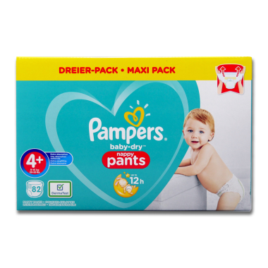 Pampers Nappies Baby-Dry Pants size 4+, pack of 82
