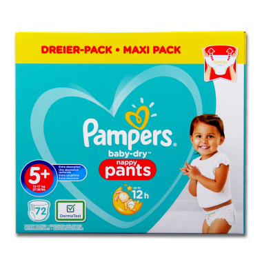 Pampers Nappies Baby-Dry Pants 5+, pack of 72