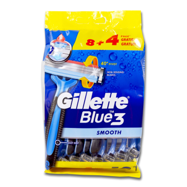 Gillette Blue3 disposable razor, pack of 12