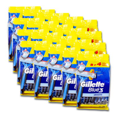Gillette Blue3 disposable razor, pack of 12 x 20