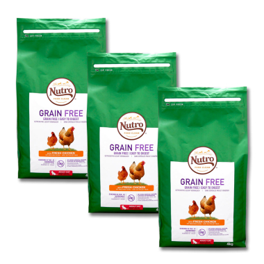 Nutro Cat Grain-Free Adult Chicken, 4 kg x 3