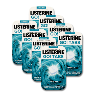 Listerine Go! tabs chewable tablets mouthwash, pack of 8 x 8