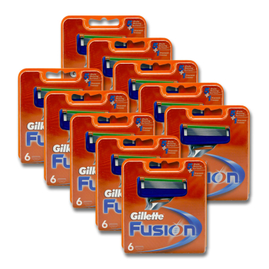 Gillette Fusion razor blades, pack of 6 x 10