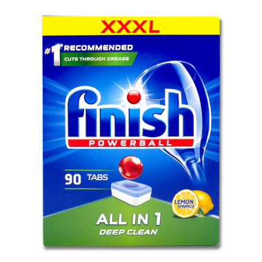 Finish Powerball All-in-1 Lemon dishwasher tabs, pack of 90