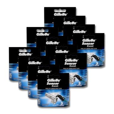Gillette Sensor Excel razor blades, pack of 3 x 12