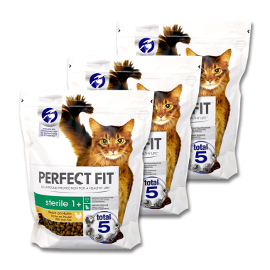 Perfect Fit Sterile 1+ Dry Cat Food Chicken, 750 g x 3