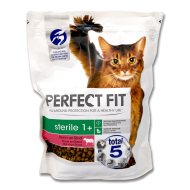 Perfect Fit Sterile 1+ Dry Cat Food Beef, 750 g x 3