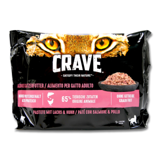 Crave Cat Wet Food Paste with Salmon & Chicken multi pack, 4 x 85 g x 11