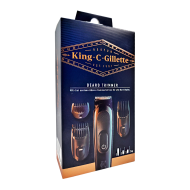 King C. Gillette beard trimmer with three hair combs